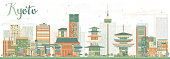 Abstract Kyoto Skyline with Color Landmarks.