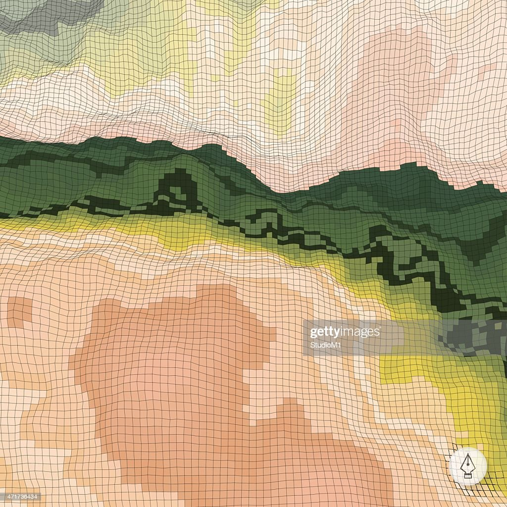 Abstract landscape background. Mosaic.