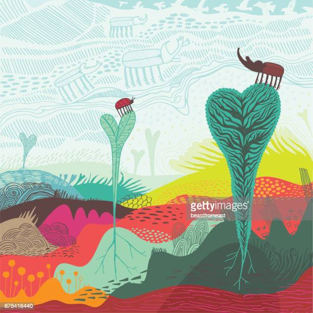 Abstract landscape of heart shaped plants and insects
