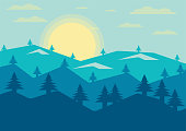 Abstract Landscape pine mountain view evening sun background. vector Illustrator