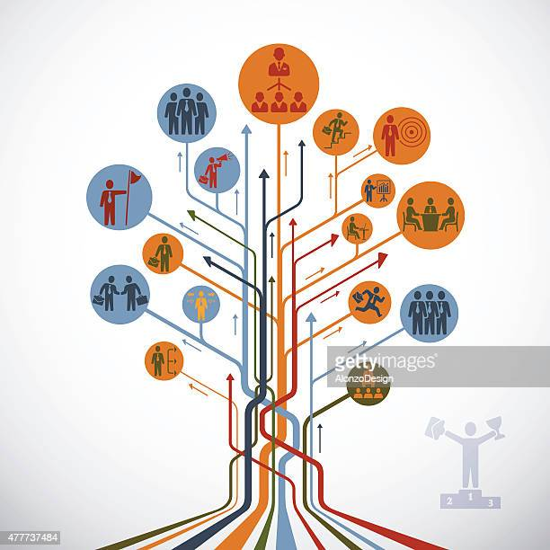 stockillustraties, clipart, cartoons en iconen met abstract leadership tree - beslissingen