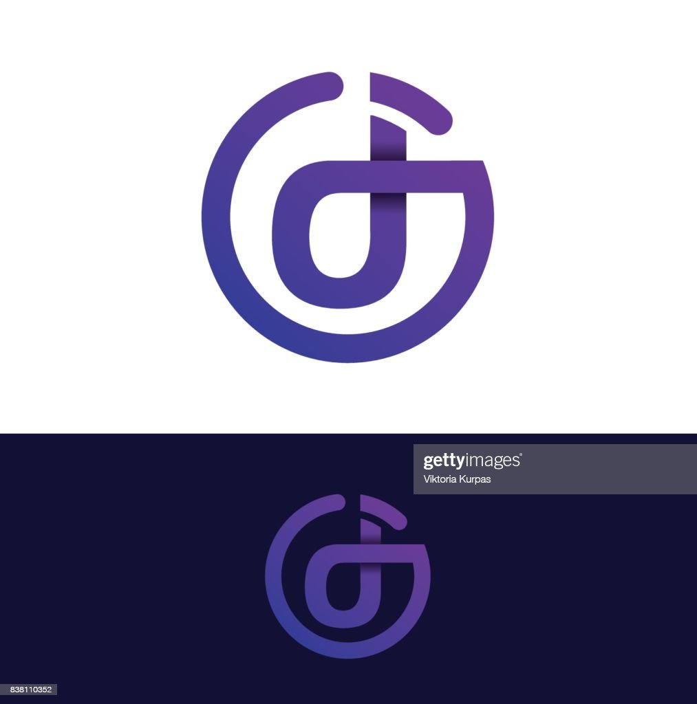 DJ abstract letters. cool symbol for the DJ party