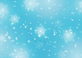Abstract Light Blue Background with Snowflakes