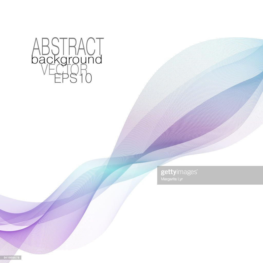 Abstract line art wave of purple, violet, blue, cyan. Modern wavy background. Vector vibrant waving pattern, ribbon imitation. Layout for brochures, invitations, posters, leaflets, flyers, books. EPS10 illustration