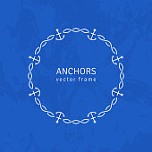 Abstract Line Ornate Frame with Anchors and Chain