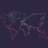 Abstract line world map