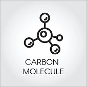 Abstract linear icon of carbon molecule. Chemical structure simplicity outline logo. Vector illustration