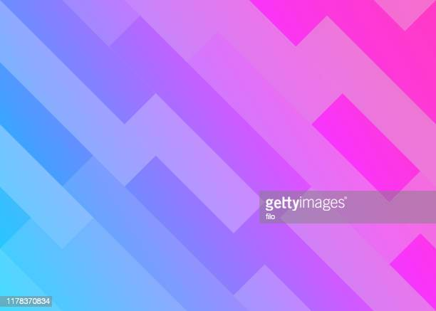 abstract lines geometric background - pink and blue background stock illustrations