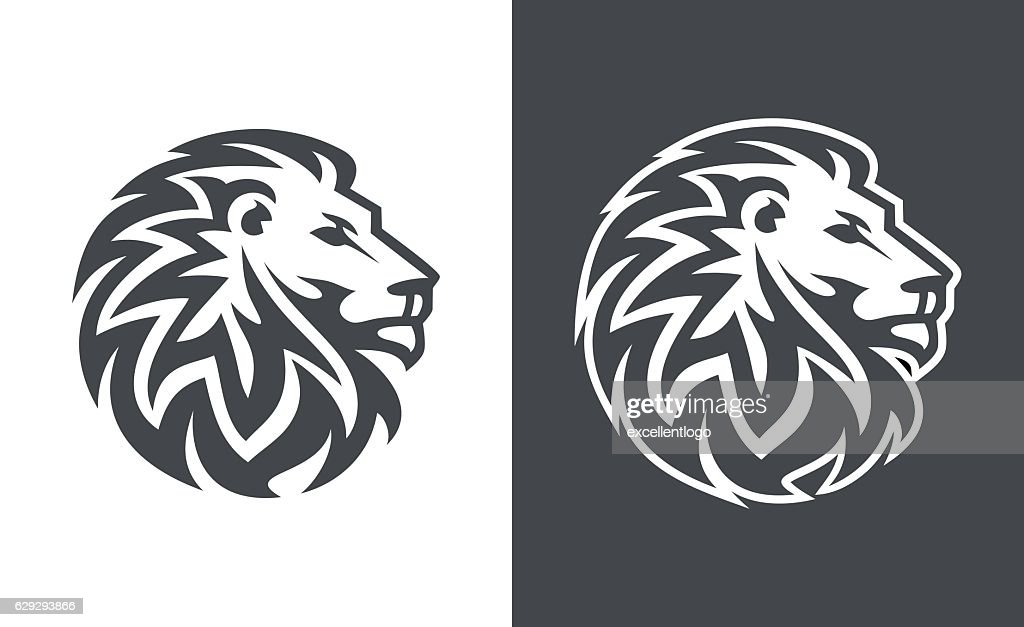 abstract lion head logo vector design