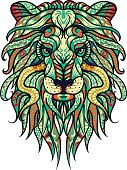 Abstract Lion Vector Illustration tattoo design. Leo zodiac sign