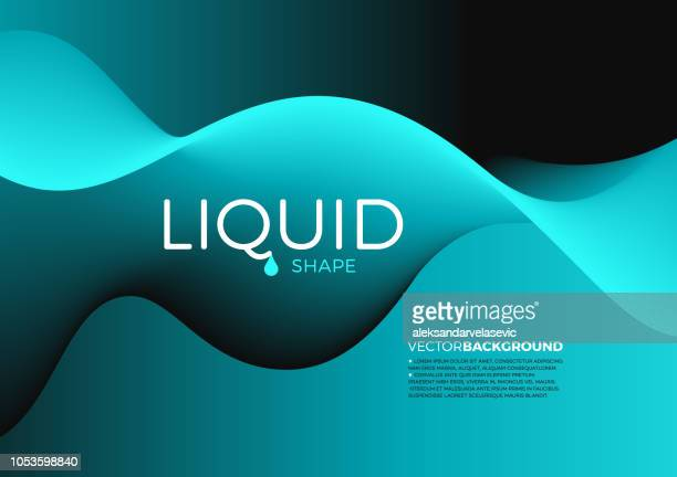 abstract liquid shape background - teal stock illustrations