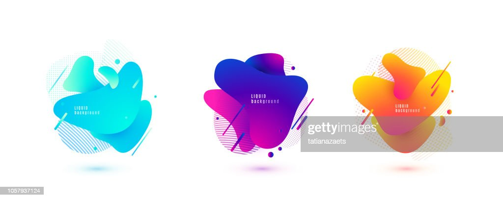 Abstract liquid shape. Fluid design. Isolated gradient waves with geometric lines, dots. Vector illustration