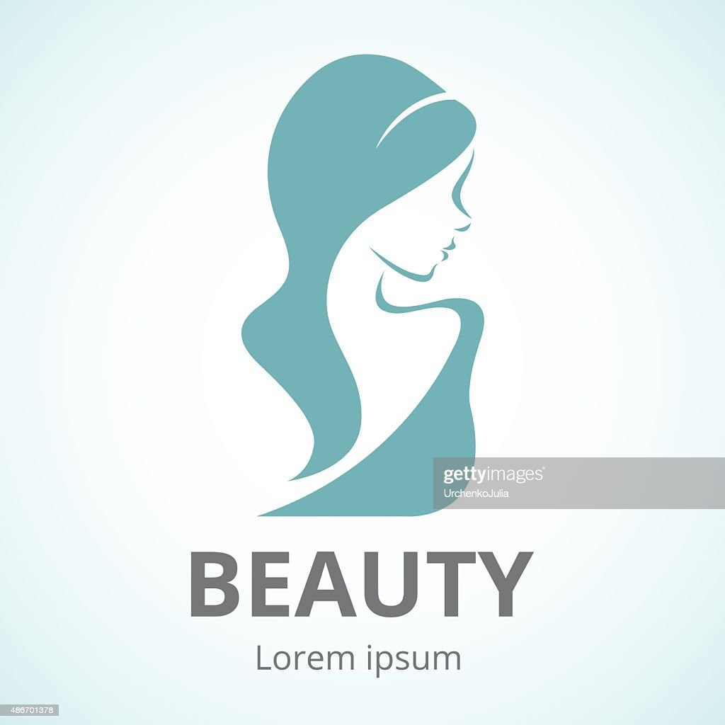Abstract logo beautiful woman in profile