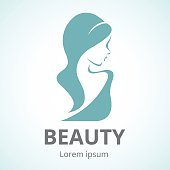 Abstract logo beautiful woman in profile