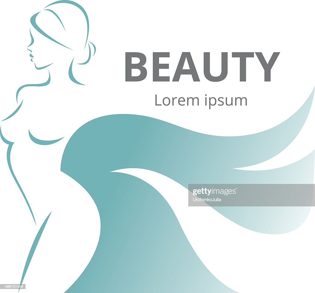 Abstract logo stylized beautiful woman in profile