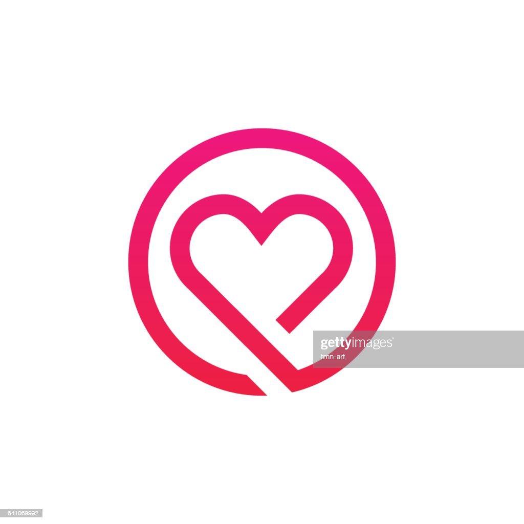 Abstract love logo sign minimalistic icon vector design