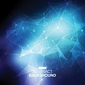 Abstract low poly blue bright technology vector background. Connection structure.