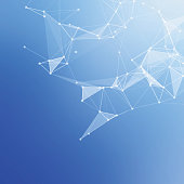 Abstract low poly blue bright technology vector background.