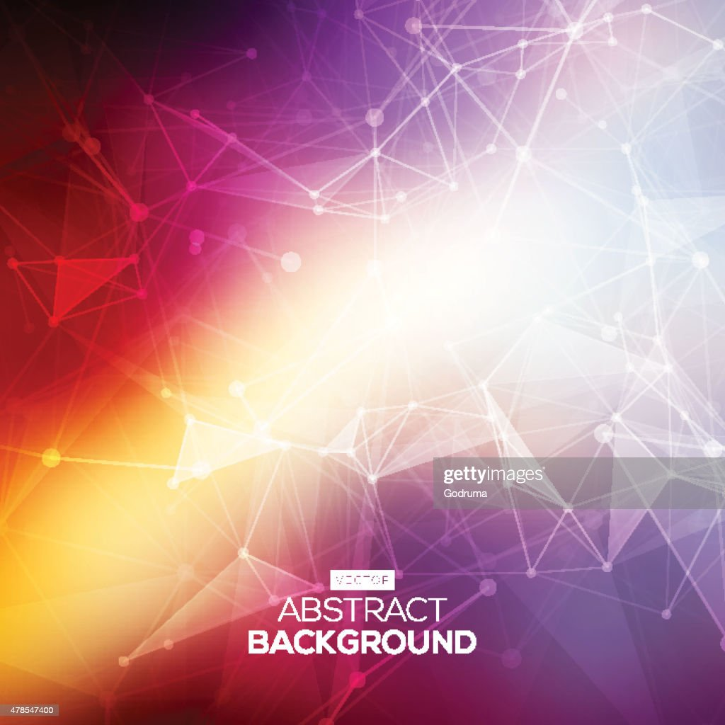 Abstract low poly colorful bright technology vector background. Connection structure.