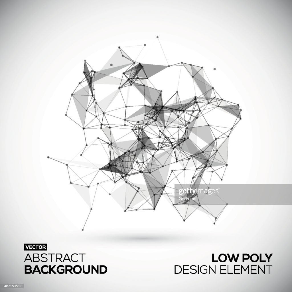 Abstract low poly geometric technology vector design element. Connection structure.