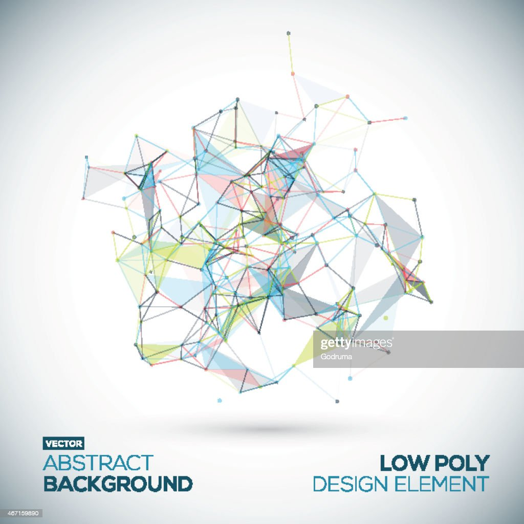 Abstract low poly geometric technology vector design element.