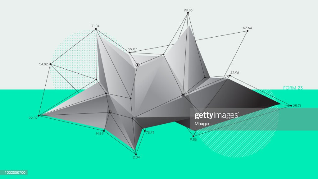 Abstract low polygon modern crystal shapes, Futuristic vector background