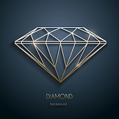 Abstract luxury template with gold diamond outlined shape - eps10 vector