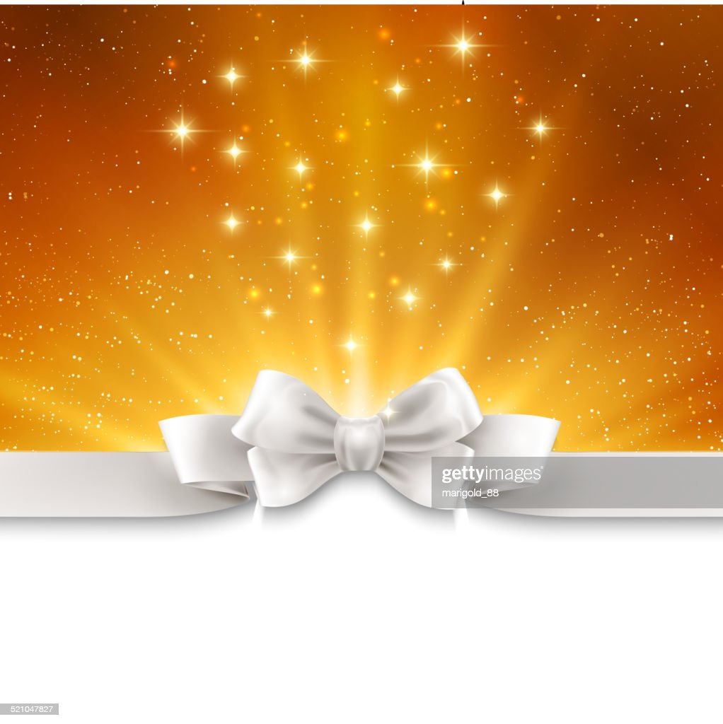 Abstract magic gold light background with white ribbon