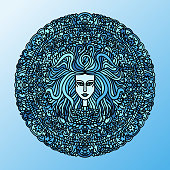 Abstract mandala ornament. Asian pattern with long hair girl face. Blue navy background. Vector illustration.