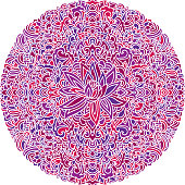 Abstract mandala ornament. Asian pattern with lotus flower. Colorful authentic background. Vector illustration.