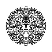 Abstract mandala ornament. Asian pattern with woman face portrait. Black and white authentic background. Vector illustration.