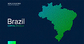 Abstract map of Brazil with circle lines