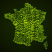 Abstract map of France with glowing particles