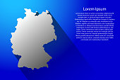 Abstract map of Germany with long shadow on blue background of vector illustration