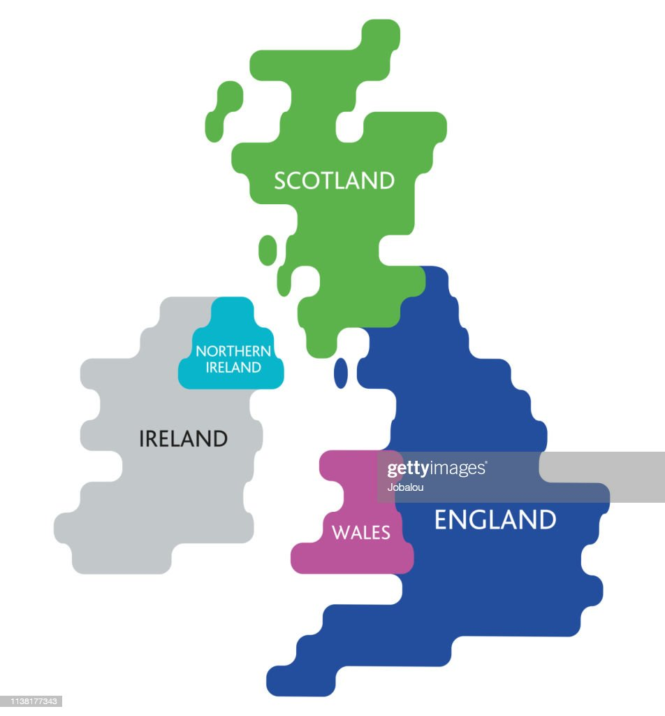 Abstract Map United Kingdom Of Great Britain And Ireland High Res