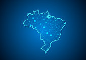 Abstract mash line and point scales on dark background with Map of brazil. Wire frame 3D mesh polygonal network line, design sphere, dot and structure. communications map of brazil.Vector illustration