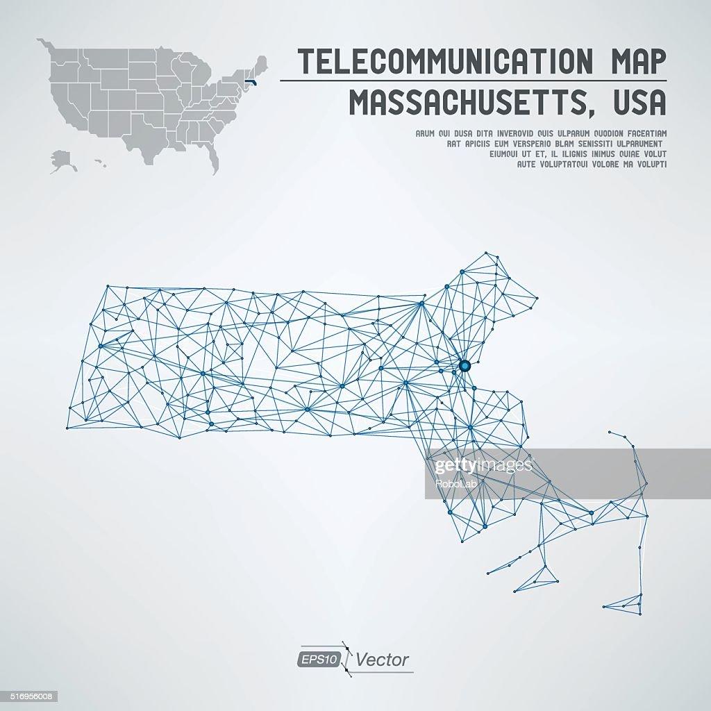 Abstract Massachusetts / USA telecommunication map concept