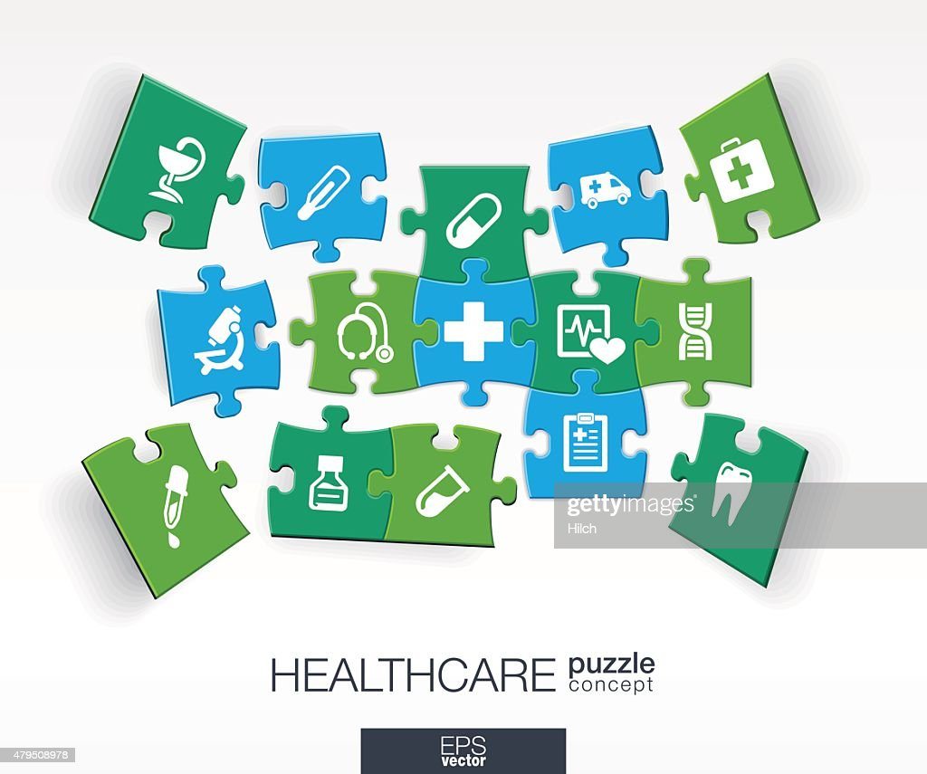 Abstract medical background with connected color puzzles, integrated flat icons.