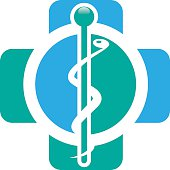 Abstract medical blue green pharmacy sign