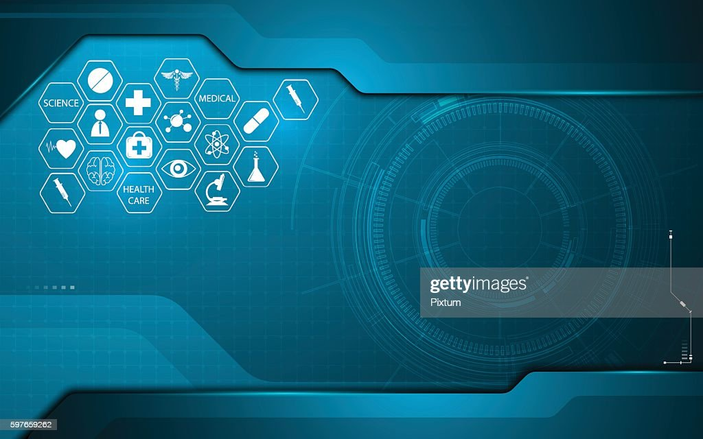 abstract medical health care icon on technology innovation concept background