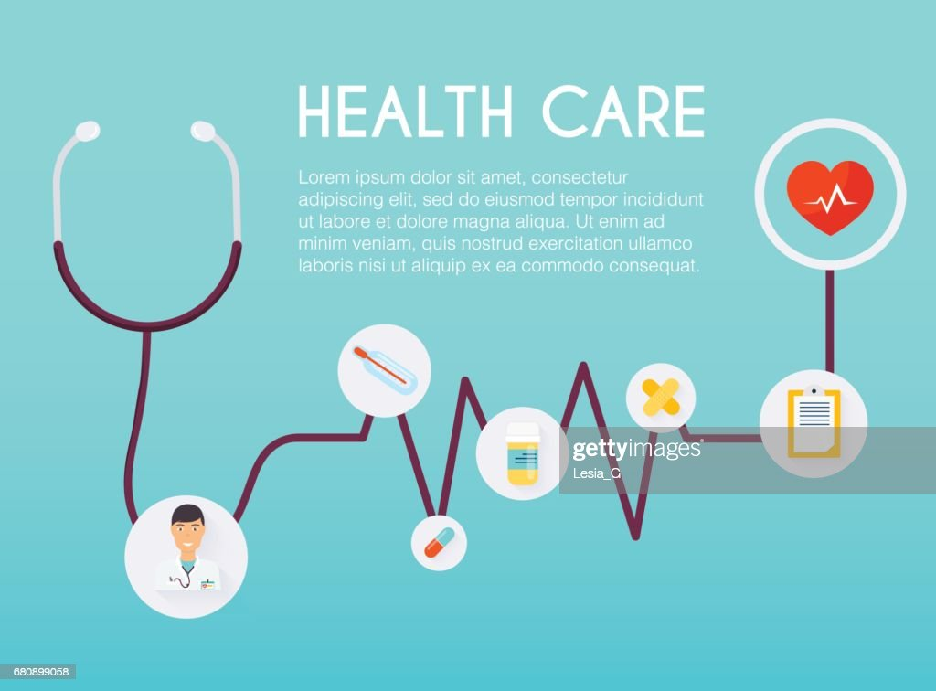 Abstract medical icon with stethoscope. Medical concept.  Flat design style modern vector illustration concept.