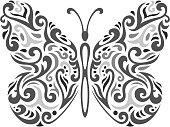 Abstract Mehndi butterfly - vector illustration