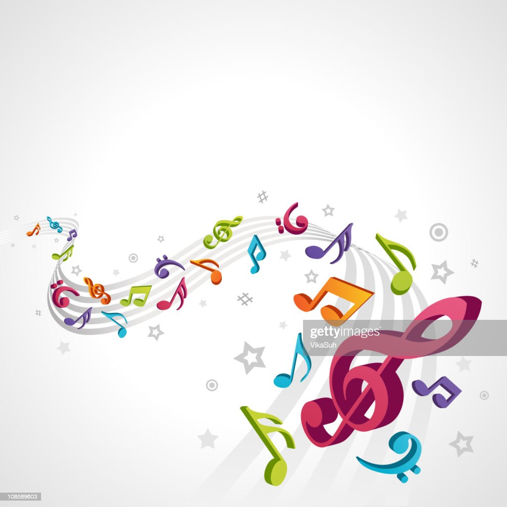 Abstract melody with fly 3d notes vector background