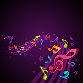 Abstract melody with fly notes vector background