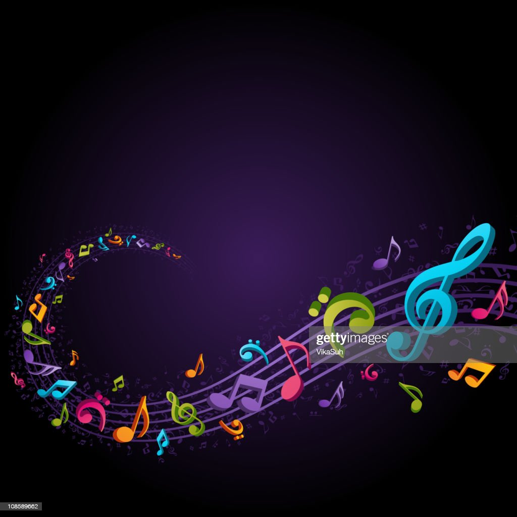 Abstract melody with notes vector background