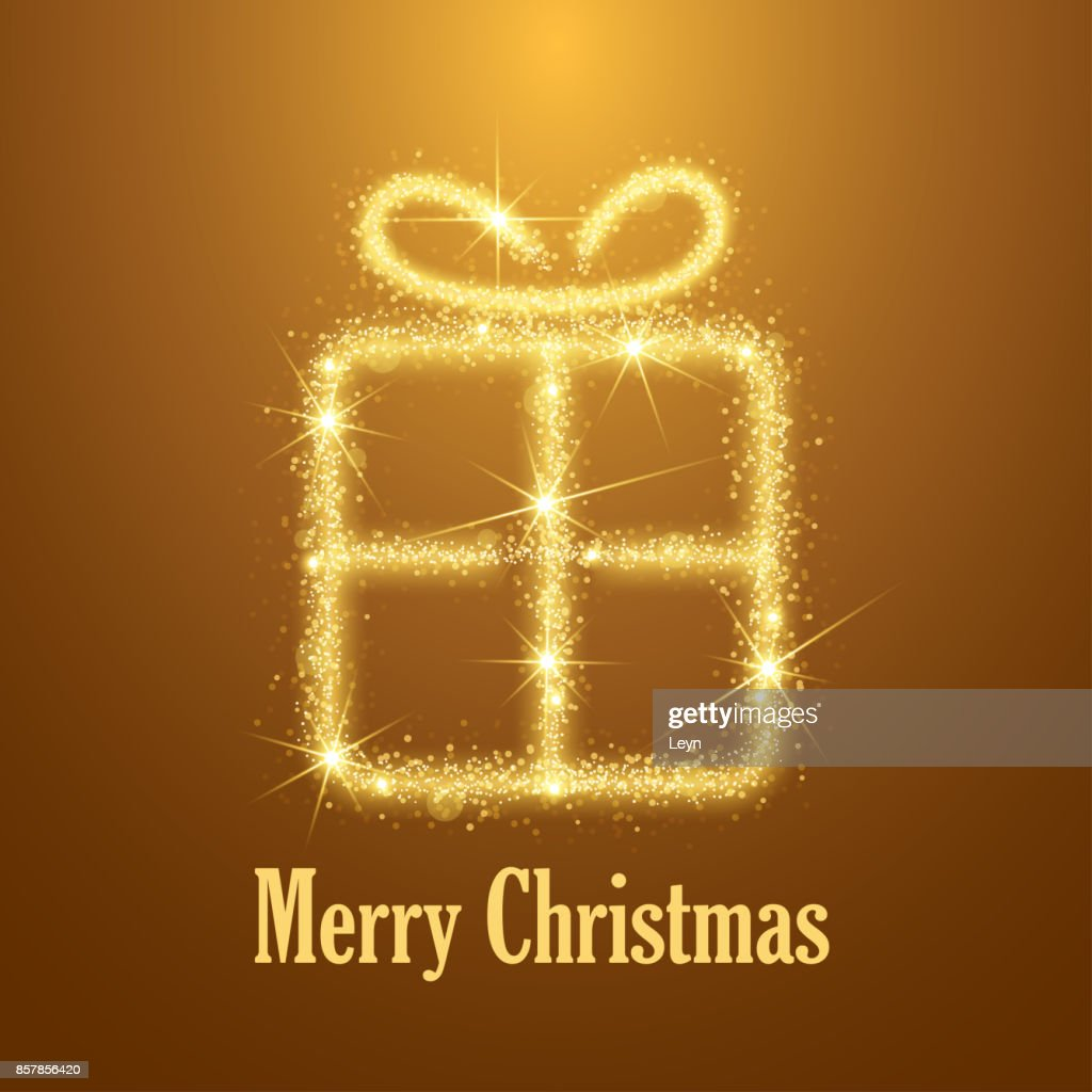 Abstract Merry Christmas gift box on golden background. Sparks drawing.