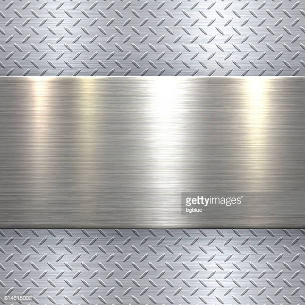 Abstract Metallic Background - Metal Diamond Plate in Silver Color