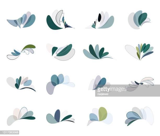abstrakte minimalismus farben blatt und floral muster umriss icon sammlung für design - oval stock-grafiken, -clipart, -cartoons und -symbole