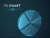 Abstract modern business background vector depicting pie chart with stars and lines in shape of a circle graph on blue background.
