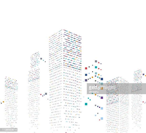 abstract modern city office building pattern background - skyscraper stock illustrations
